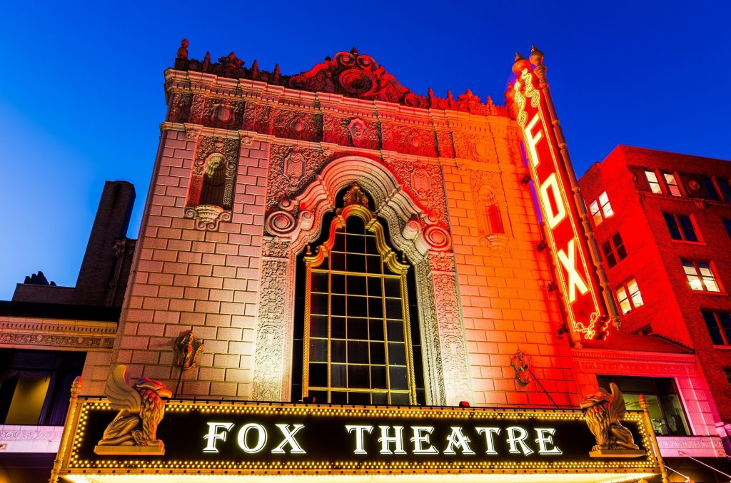 The historical Fox Theatre originally opened in 1929 as a move palace. Today it is hosts more than 150 live stage performances each year.